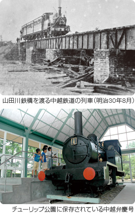 中越鉄道初列車とチューリップ公園に保存されている中越弁慶号